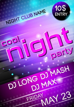 Nightclub disco party Friday night advertising event billboard poster vector illustration Ilustração