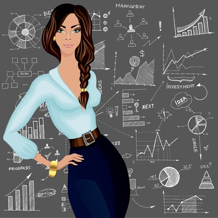 attractive woman: Young attractive business woman against the doodle style charts diagram patterned background vector illustration