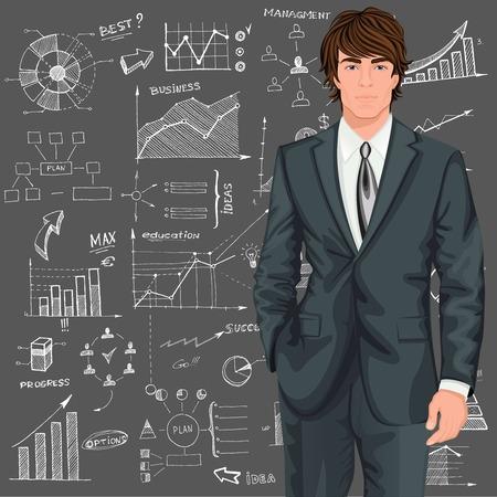 Giovane uomo d'affari contro sfondo schema schizzo stile Doodle fantasia illustrazione vettoriale