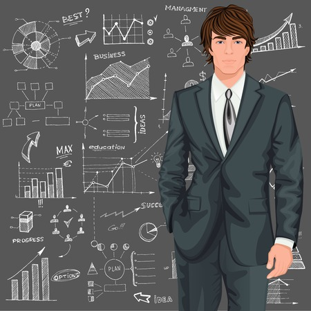 Young handsome businessman against the doodle style sketch diagram patterned background vector illustration