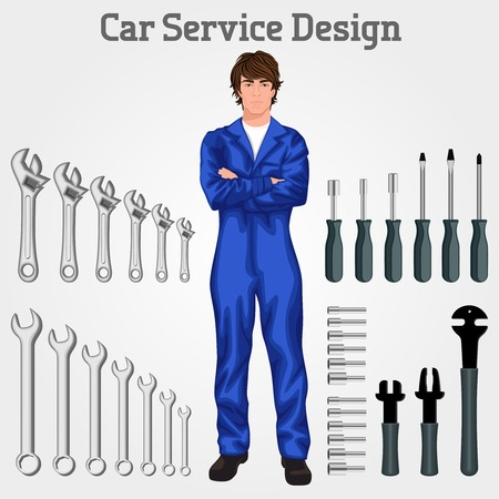 coverall: Handsome auto service mechanic man standing in overall hands crossed against the tools set background vector illustration