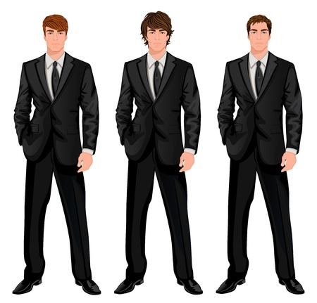 man: Three young handsome businessmen in formal suits with different brown hairstyles vector illustration