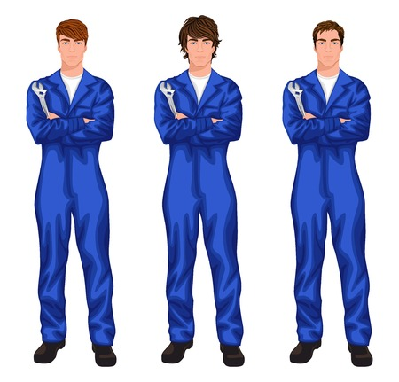 mechanic car: Three young handsome mechanic workers in overall with spanner, arms crossed with different hair styles vector illustration Illustration