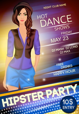 legged: Nightclub hipster party sexy long legged girl in hat and black gilet show event poster vector illustration Illustration