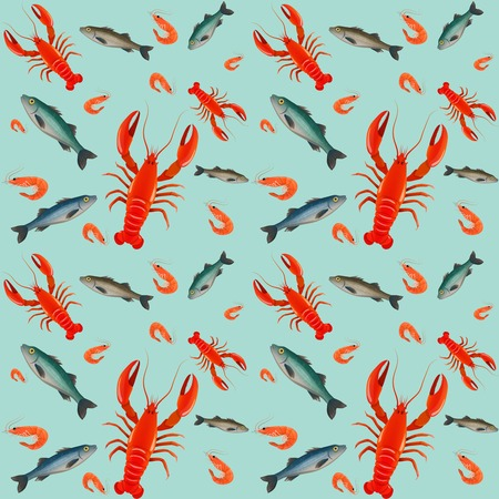 Lobster sea food mint parsley lemon olive seamless pattern vector illustration Vector