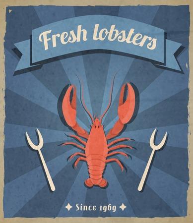 Fresh lobster retro vintage restaurant advertising poster with beam background vector illustration Vector