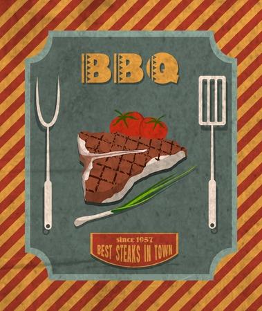 チャイブ: バーベキュー レトロ ビンテージ グリル レストラン ポスター肉ステーキ トマトとチャイブ ベクトル イラスト