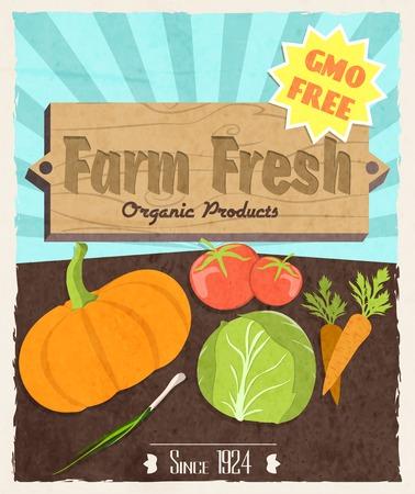 farm land: Vegetable food farm fresh retro poster gmo free organic products vector illustration