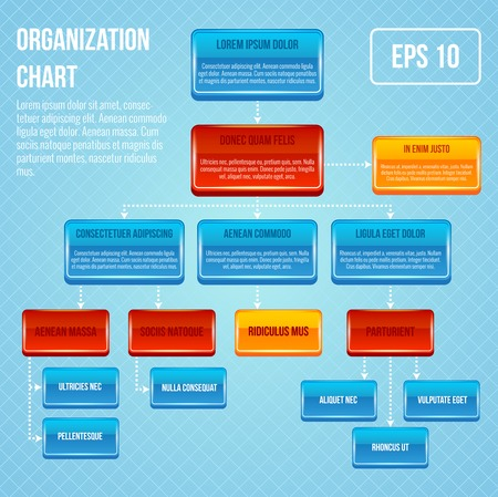 Organizational chart 3d concept business work hierarchy flowchart structure vector illustration Vector