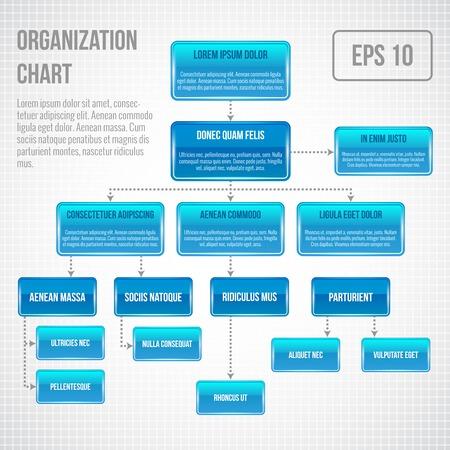 organigrama: Gráfica infografía Organizacional estructura de negocio concepto diagrama ilustración vectorial