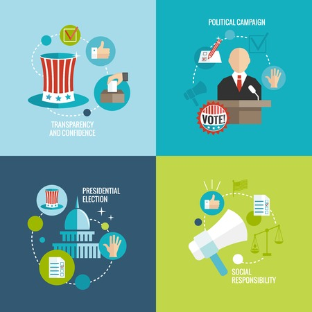 election debate: Presidential election transparency and confidence social responsibility political campaign decorative icons set isolated vector illustration