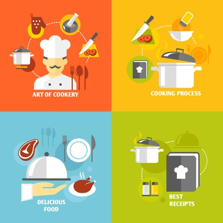 cooking book: Art of cookery cooking process delicious food best recipes decorative icons set isolated vector illustration
