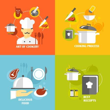 Kunst van het koken koken heerlijk eten beste recepten decoratieve pictogrammen instellen geïsoleerde vector illustratie