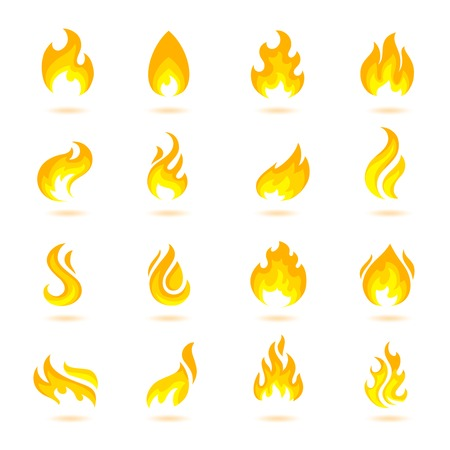flame: Fire flame burn flare torch hell fiery icons set isolated vector illustration