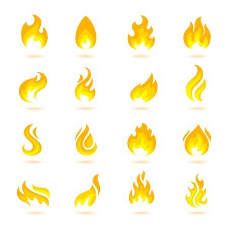 Vlam branden vuurpijl fakkel hel vurige pictogrammen instellen geïsoleerde vector illustratie