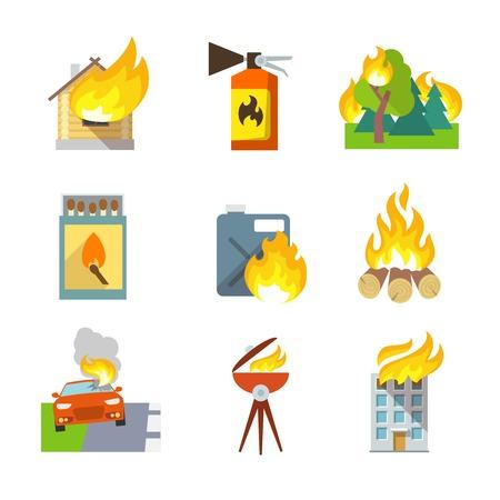 incendio casa: Iconos de la protección contra incendios establecidas de accidentes automovilísticos forestales casa aislados ilustración vectorial Vectores