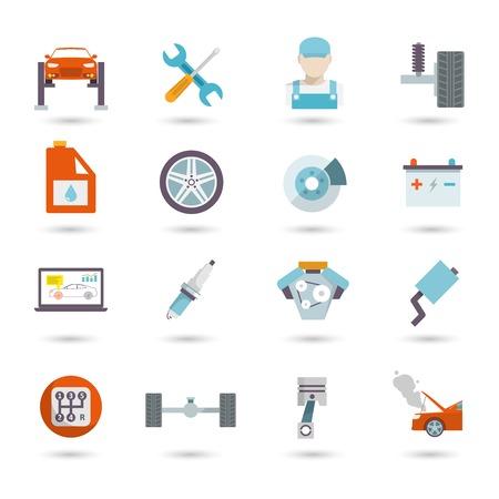 onderhoud auto: Automonteur auto service vervoer werk en onderhoud pictogrammen geïsoleerd vector illustratie Stock Illustratie
