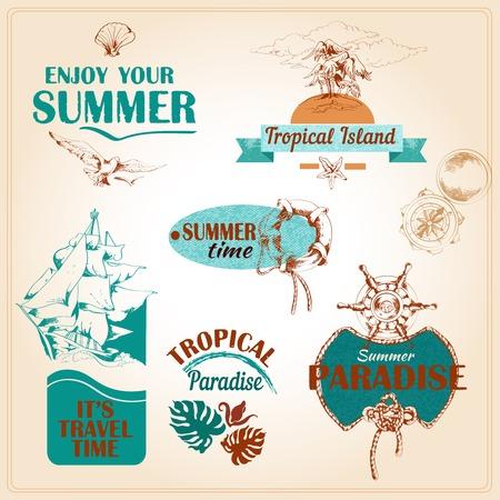 bird of paradise: Summer vacation travel old fashioned nautical advertising symbols collection tropical paradise set hand drawn vector illustration Illustration
