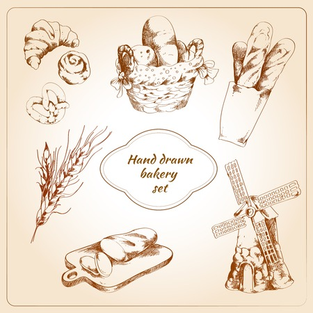 puff pastry: Bakery bread and pastry food hand drawn icons set isolated vector illustration