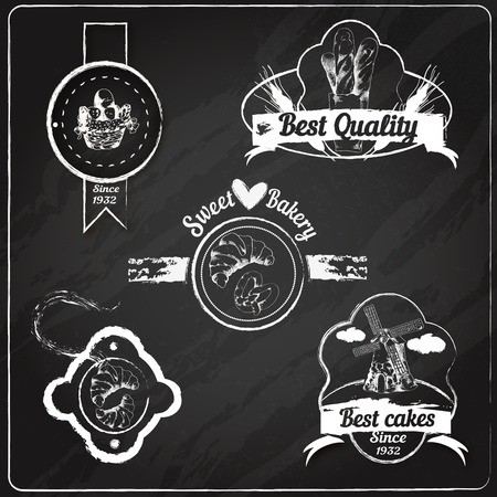 puff pastry: Best cakes sweet bakery bread and pastry food chalkboard emblems set vector illustration