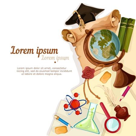 inkstand: Vintage education graduation diploma globe paper flask magnifier background vector illustration