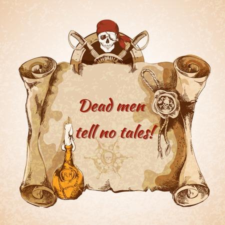 Vintage pirates torn paper manuscript background with rum bottle seal skull vector illustration
