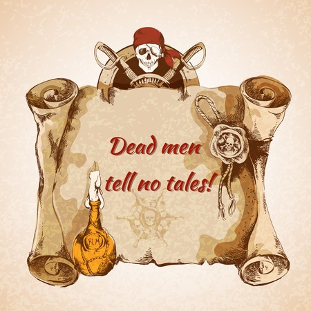 Vintage pirates torn paper manuscript background with rum bottle seal skull vector illustration Vector