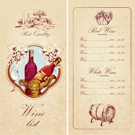 Vintage restaurant best quality wine list card menu template vector illustration Vector