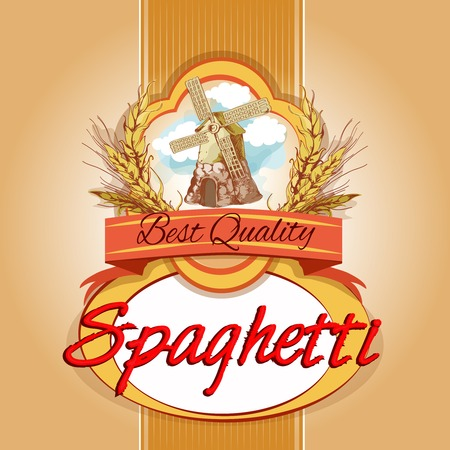 Best quality delicious wheat grain spaghetti pasta pack label with windmill emblem vector illustration Vector