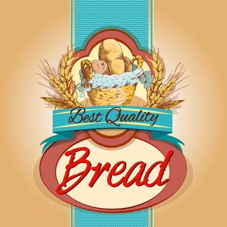 baked: Best quality baked bread food pack label with basket and wheat ear vector illustration