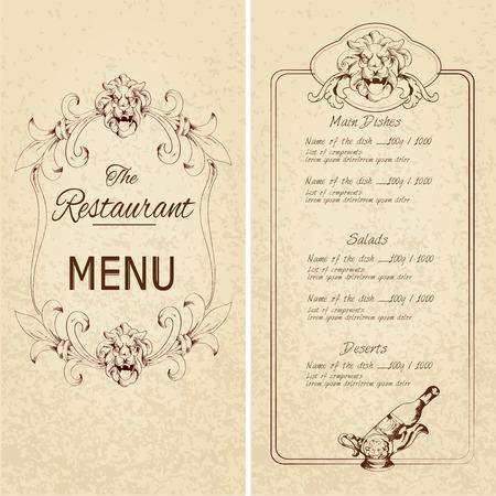 wine book: Retro vintage restaurant menu template with lion and wine bottle decoration vector illustration