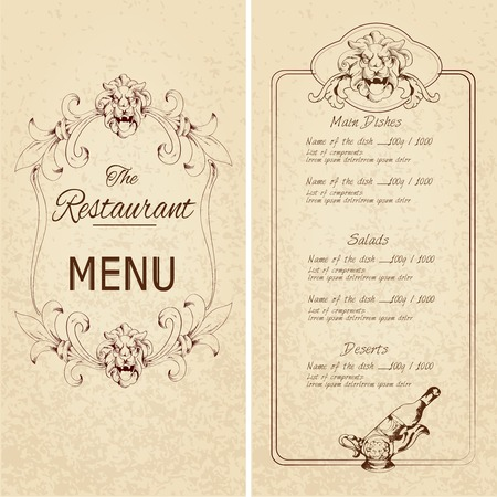 Retro vintage restaurant menu template with lion and wine bottle decoration vector illustration