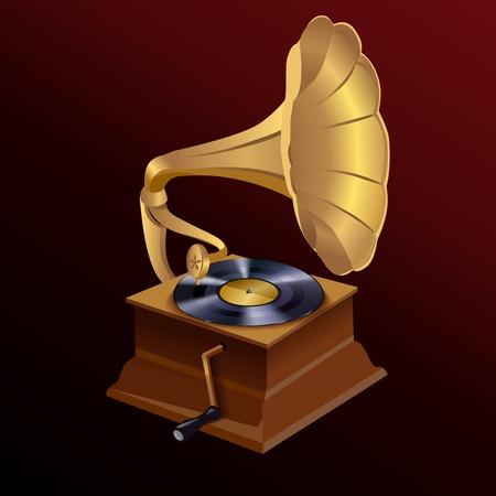phonograph: Vintage retro style vinyl turntable disc gramophone print template vector illustration