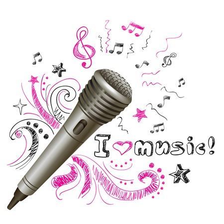 karaoke: Music doodle karaoke microphone musical equipment print with notes on background vector illustration
