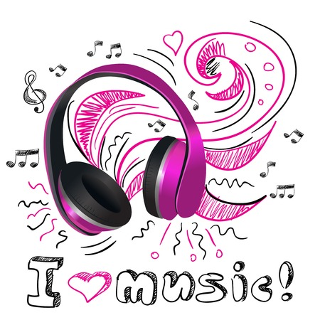Purple wireless headphones with doodle notes and swirls background poster vector illustration Vector