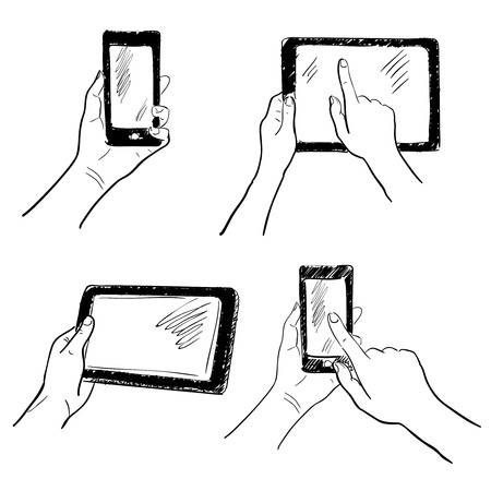holding smart phone: Hand gestures holding smartphone tablet touchscreen sketch set isolated vector illustration