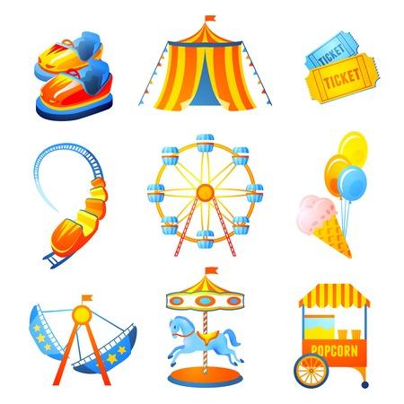 Amusement entertainment park pictogrammen die met reuzenrad rollercoaster geïsoleerde trouwen-go-round vectorillustratie
