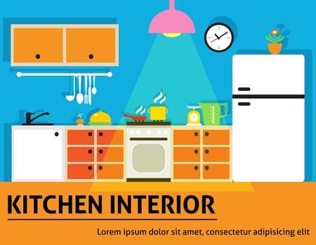 modern home: Kitchen interior modern home food cooking design poster vector illustration.