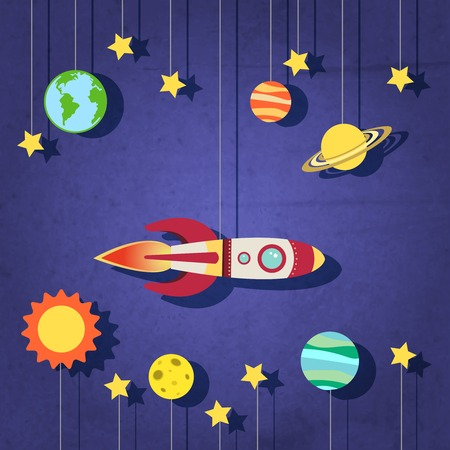 planet futuristic: Paper rocket planets sun moon and stars in space background vector illustration Illustration