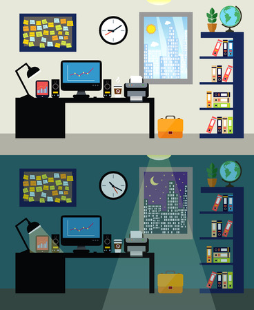 Office workplace with table chair lamp and world map on background empty office workplace day and night with work table computer and bookshelf vector gumiabroncs Image collections