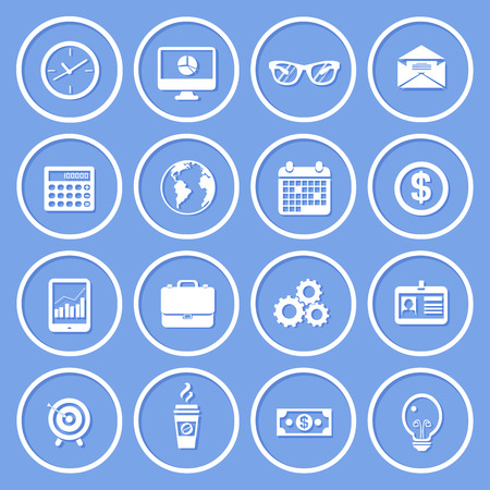Business round paper icons set of clock computer glasses envelope vector illustration Vector
