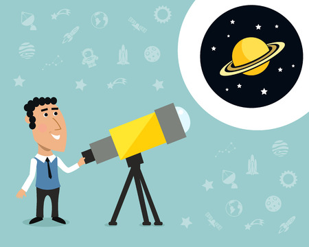 observatory: Cartoon male astronomer observes jupiter in telescope print with space elements on background vector illustration