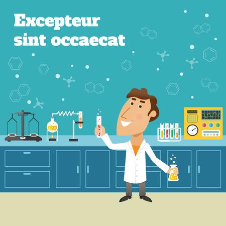 balanza de laboratorio: Científico en laboratorio de investigación de ciencia de educación con frascos y material de laboratorio ilustración tarjeta vector