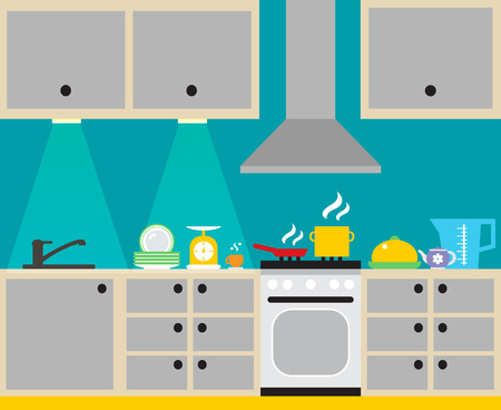 Modern kitchen interior with furniture and household equipment poster vector illustration Vector