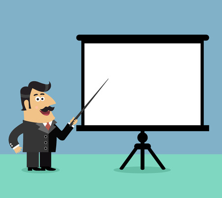 flip chart: Business life shareholder boss makes a presentation pointing on blank flipchart scene vector illustration