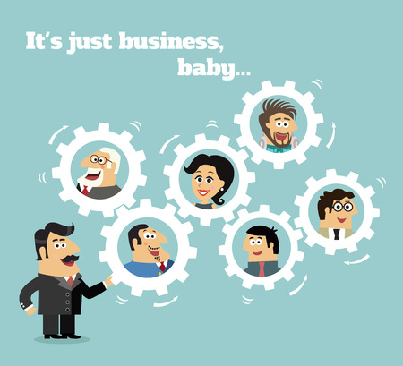 Business team concept with boss and employees in gears vector illustration Vector