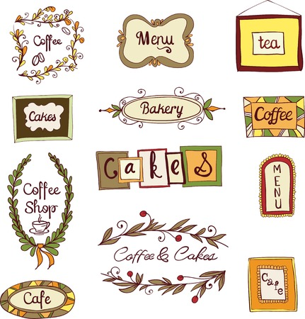 Doodle decorative vintage swirl floral wreath coffee menu tea frames set vector illustration Vector