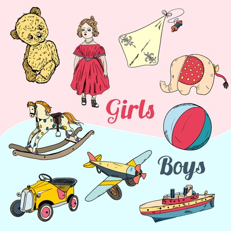 Vintage kids girls and boys toys sketch icons set isolated vector illustration