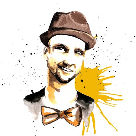 Smiling hipster character man guy in hat and bow tie ink drawn vector illustration