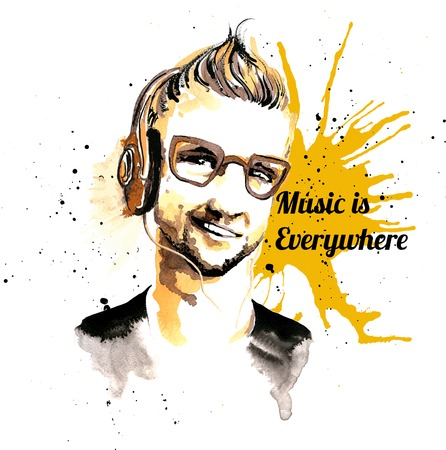 stubble: Smiling hipster character man with glasses and headphones ink drawn music poster vector illustration